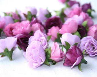 32 Mini Roses in Shades of Purple and Pink - BEST SELLER - ITEM 0908