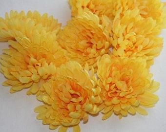 OVERSTOCK SALE: Yellow Flower - Silk Flower -  set of THREE Chrysanthemums in Sunshine Yellow - Artificial Flower - was 4.25