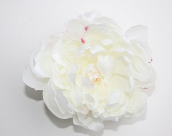 Silk Blend Peony in White with Fuchsia Accents - ITEM 0170
