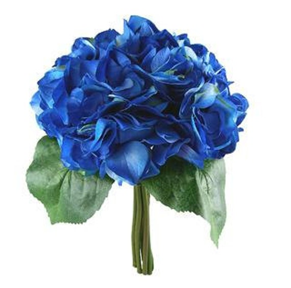 Blue Hydrangea Wedding Flowers: Bright Blue Hydrangea Wedding Bouquet Bridesmaid Bouquet