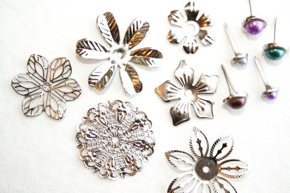 Set of 6 Flower or Snowflake Filigree Ornaments with 5 Colorful Brads -  scrapbooking brads