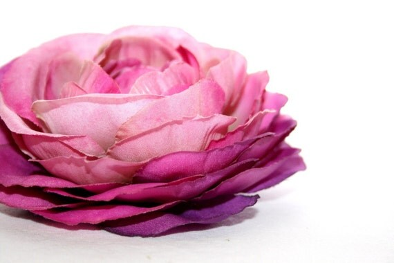 Silk Flowers - Two Toned Purple and Pink Garden Rose - 4 inches - Artificial Flower