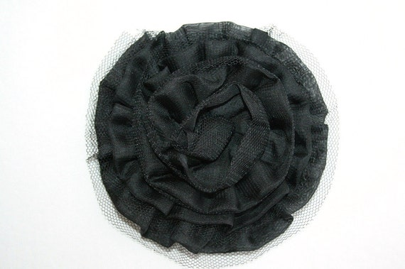 Large Chiffon Rosette with TULLE in BLACK : Headband and Wearable Fashion Supply