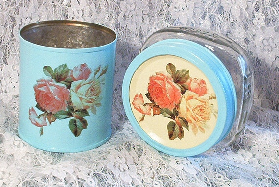 shabby chic wide mouth half pint canning jar cottage roses repurposed tin can set aqua light blue yellow