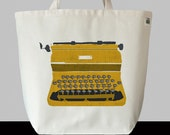Retro Typewriter in Mustard Yellow - Recycled Cotton Canvas EcoBag Tote