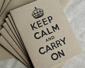 Recycled Kraft Paper Notecards Set - Keep Calm and Carry On in Black