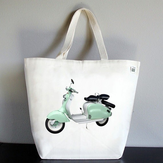 Recycled Cotton Canvas Market Tote Shopping Bag - Vintage Vespa Scooter