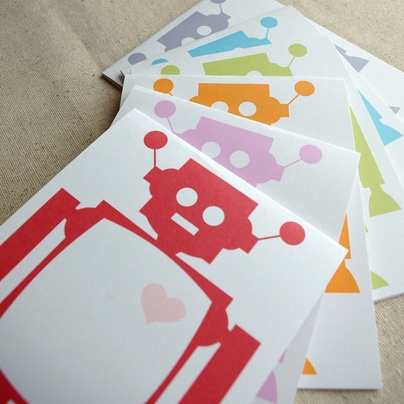 6 Robot Love Recycled Paper Cards