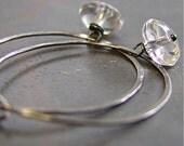 Artisan rock crystal and .925 sterling silver hoop earrings - Lucid