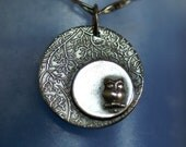 Owl Necklace - Silver - Owl in a Silver Moon  - Made to Order