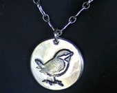Bird Pendant - Little Sparrow in Silver   -  No Chain  -  Made to Order