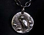 Bird Pendant - Silver Great Blue Heron   - No Chain  -  Made to Order