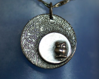 Owl Pendant or Necklace - Owl in a Silver Moon - Made to Order