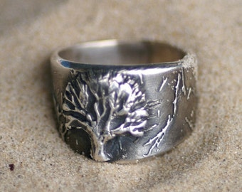Ring - Silver - Tree of Life - Size 9 through 10.5 - Made to Order