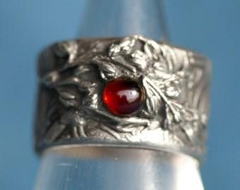 Garnet Ring - Silver  - Berry in the Vines w Almandine Garnet  - Made ro Order
