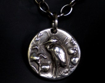 Bird Necklace or Pendant in Silver - Great Blue Heron   - Made to Order