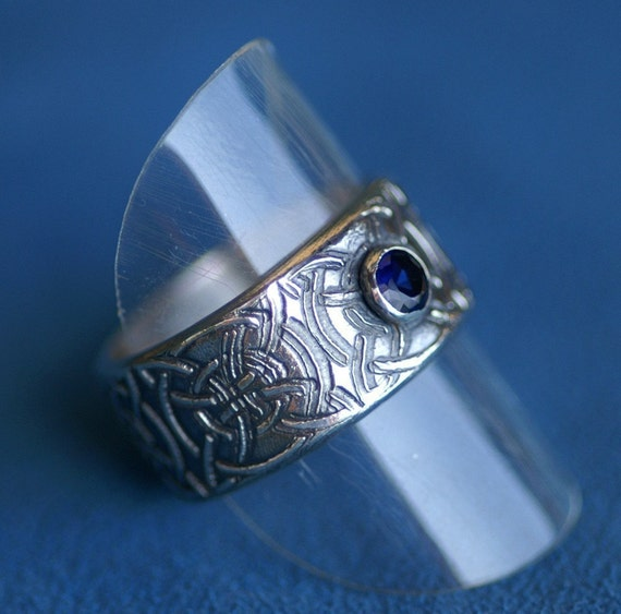 Ring in Silver - Celtic Texture with Sapphire - Made to Order