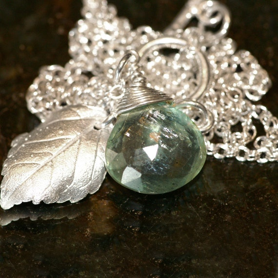 Necklace - Aquamarine and Silver Leaves  - Made to Order