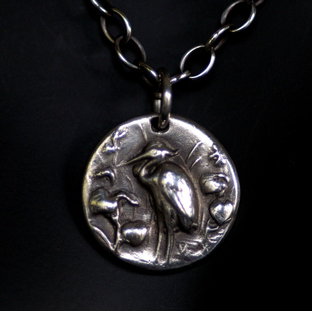 bird pendant silver great blue heron no chain made