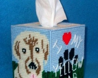Yellow Labrador Tissue Box Cover Plastic Canvas PDF PATTERN ONLY  **Not Finished Product**