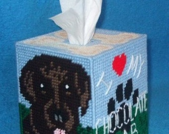 Chocolate Labrador Tissue Box Cover Plastic Canvas PDF PATTERN ONLY  **Not Finished Product**