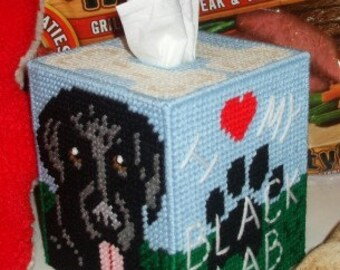 All Three Labrador Tissue Box Cover Plastic Canvas PDF PATTERNS ONLY  **Not Finished Products**
