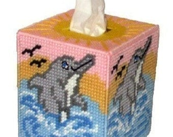 Dolphins in the Waves Tissue Box Cover Plastic Canvas PDF PATTERN ONLY  **Not Finished Product**