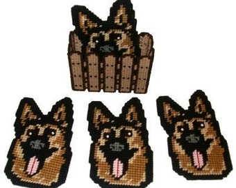 German Shepherd Coaster Set Plastic Canvas PDF PATTERN ONLY  **Not Finished Product**
