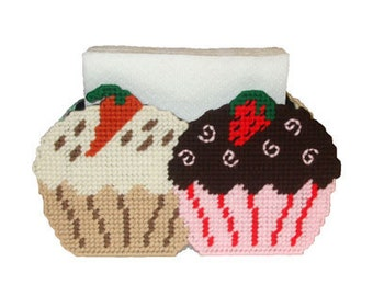 Gourmet Cupcakes Napkin Holder Plastic Canvas PDF PATTERN ONLY  **Not Finished Product**