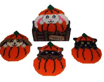 Pumpkin Patch Cuties Coaster Set Plastic Canvas PDF PATTERN ONLY  **Not Finished Product**