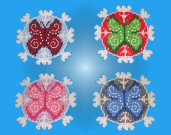 Butterfly Snowflake Danglers Plastic Canvas PDF PATTERN ONLY  **Not Finished Product**
