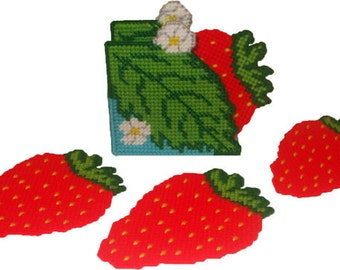 Strawberry Fields Coaster Set Plastic Canvas PDF PATTERN ONLY  **Not Finished Product**