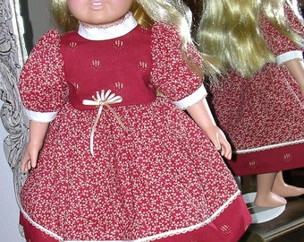 Handmade18-inch DOLL DRESS, Christmas Red Prints, American Girl Style and Size