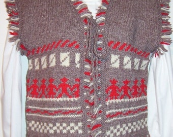 Vintage Hand Knitted Wool Vest - Norwegian Pattern - Mori Girl - Size Small