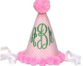 PERSONALIZE ME -- The Pink Gingham Monogram Hat --  Pink and Green Party Hat