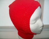 Red Belaclava Childs Knit Hat Size range 2 years to 6 years
