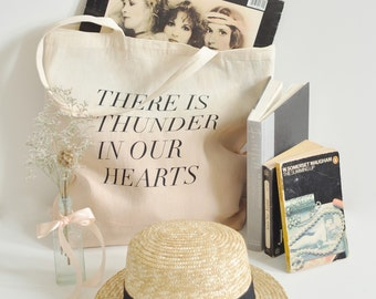 thunder in our hearts tote, blush dip dye