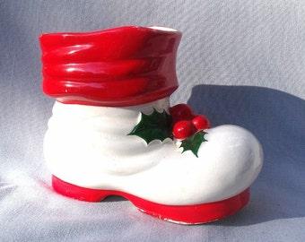 Large Vintage Santa Boot Planter Christmas Decoration