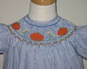 SALE Pumpkin Fall Smocked dres, Smocked bishop dress Thanksgiving  girls size 4T and 5T