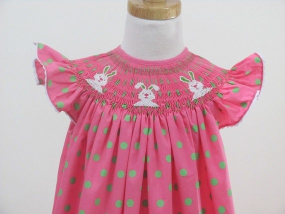 Reserved for Robin Most -  Easter Bunnies smocked bishop dress Polka dots szs 3m,6m,12m,2T,3T,4T,5T,6y
