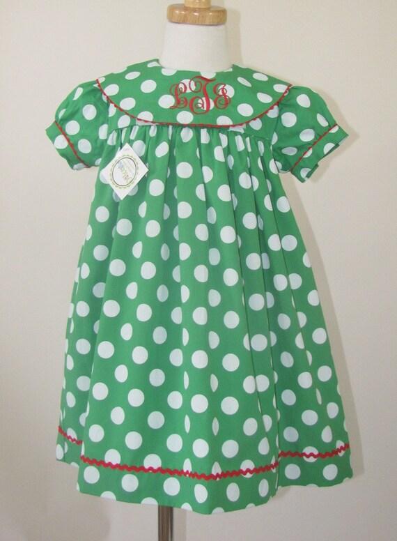 Girl Christmas Monogram dress , Christmas dress infants, toddlers, girls, green Christmas gown dress, FREE Monogram 5T