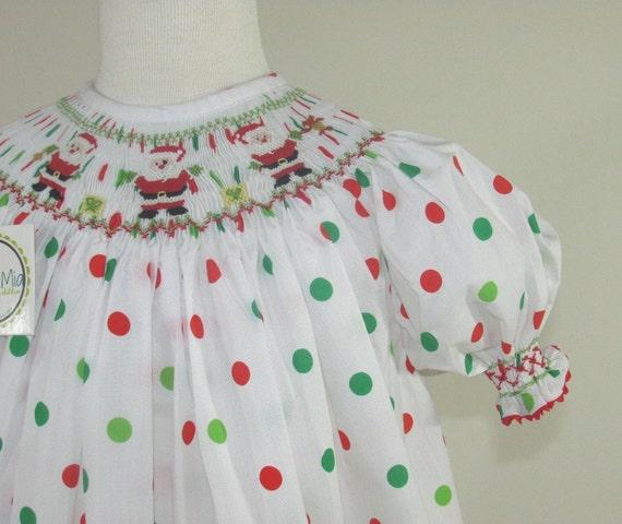 Santa Smocked Christmas Dress Girl S Christmas Smocked