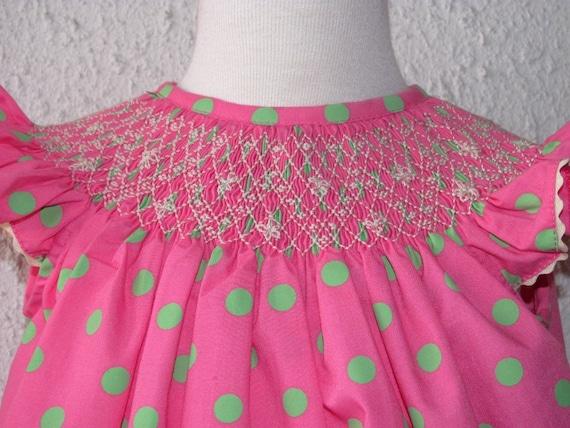 SALE Pink bishop Smocked dress, pink polka dots dress, smocked girl dresses, baby smocked clothing, infant smocked clothing sz 18m