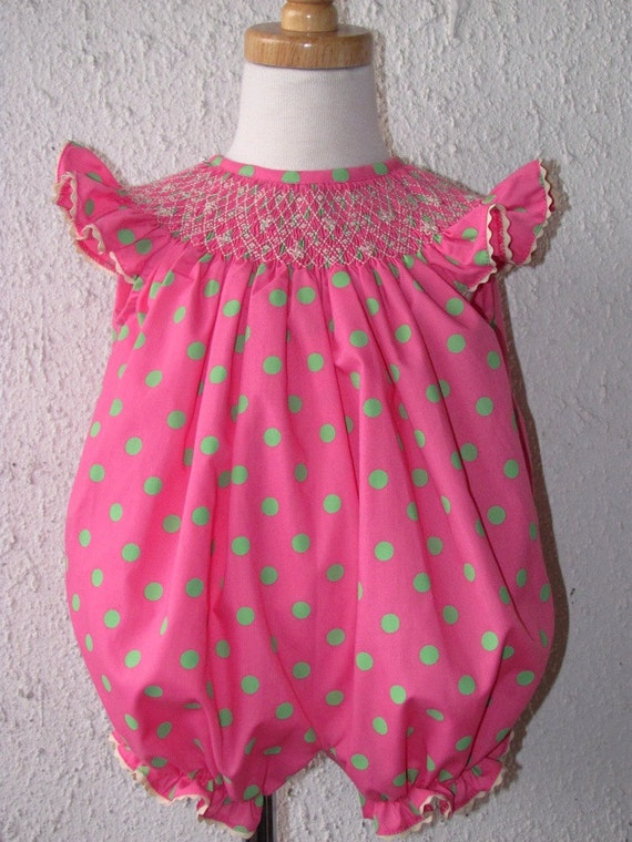 Items Similar To Infant Smocked Bubble Pink Smocked