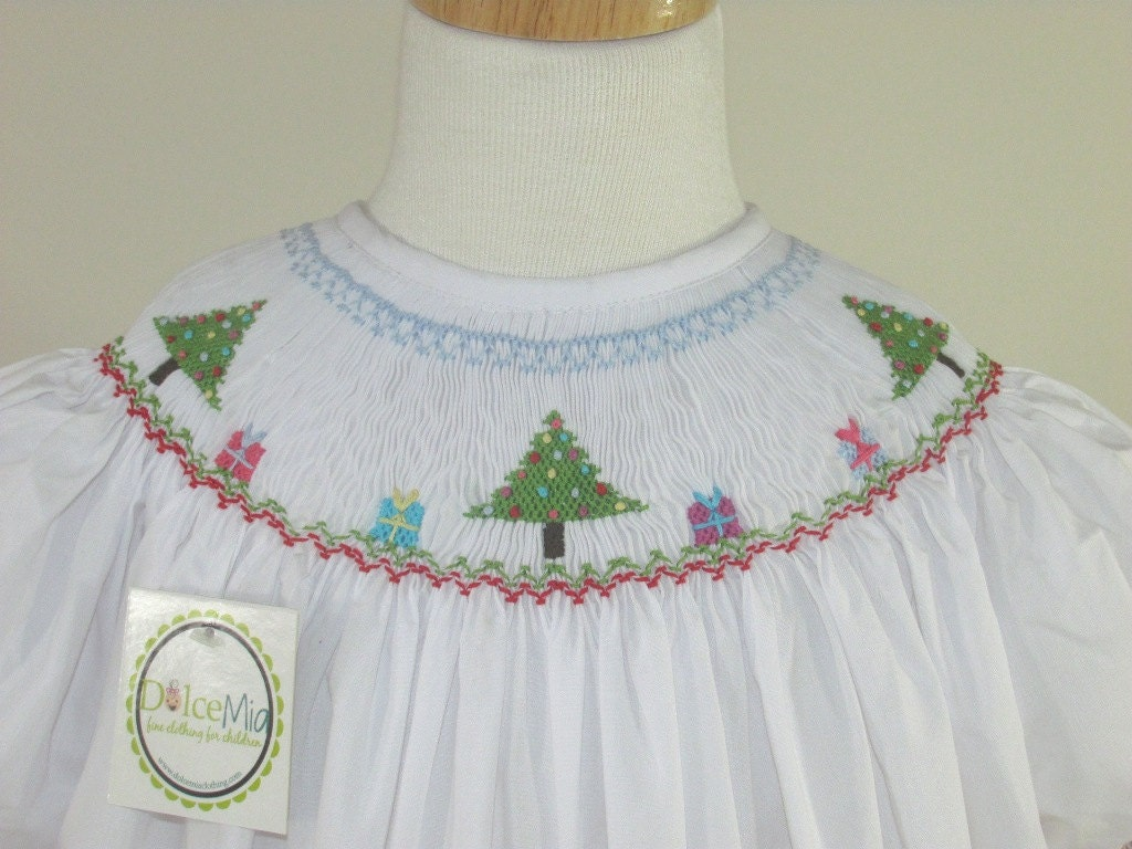 White Christmas Tree Bishop Dress Infant