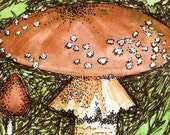 ACEO - Original watercolor and ink mushroom