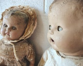 Creepy Peepy Sisters Two SCARY HORRIBLE Vintage Dolls