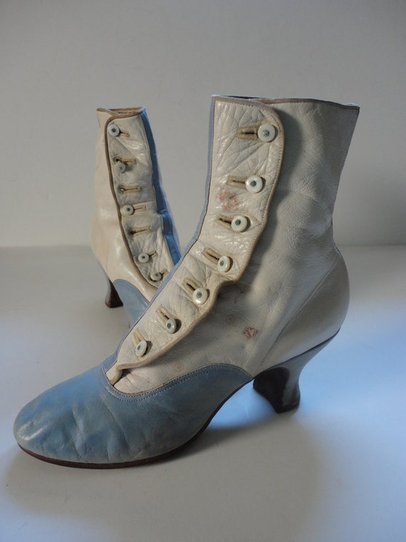 Victorian Boots Baby Blue and Cream Leather Button Up Ankle Boots