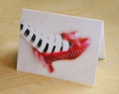 Red Ruby Oz Slippers - Gift Note Cards Set of (5) w/envelopes, Oz Inspired, Wicked Witch Dorothy B&W By Jean Lannen