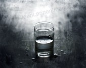 GLASS HALF FULL,Photograph Print, 8x10, Black and White Water Liquid Iconic Conceptual Spiritual Positive Energy Image by Jean Lannen
